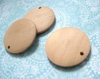 """3 Round wood pendant, unfinished, focal beads, natural 3cm Dia. (1 1/8"""")"""