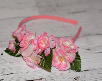 Headband with Pink Cherry Blossom Flowers