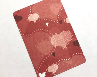 Red Valentine Hearts Travelers Notebook Laminated Dashboard - POCKET/FIELD NOTES size