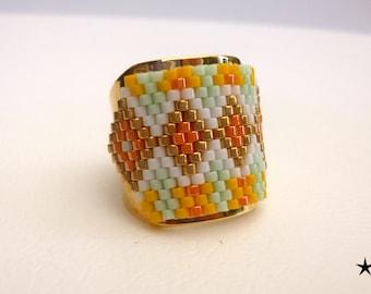 Adjustable ring, weaving needle, Japanese beads, gilt brass