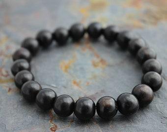 Tiger Ebony Wood Bracelet Dark - Mens Bracelet - Womens Bracelet - Boyfriend Gift - Womens Gift - Mens Beaded Bracelet - 10mm or 8mm