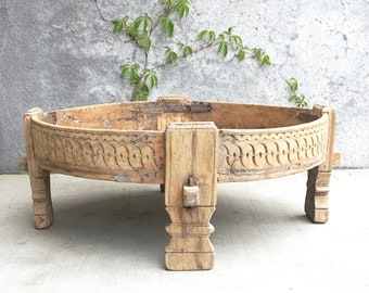 Chakki Table Coffee Table Grinder Table India Furniture Moroccan Style Boho Natural Finish