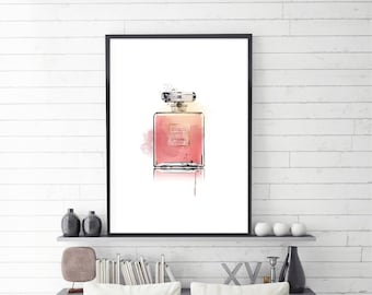 Coco Chanel, perfume print, Coco Mademoiselle, Printable Coco Chanel, Perfume Art, Blush Perfume, Illustration, Large size, Instant download