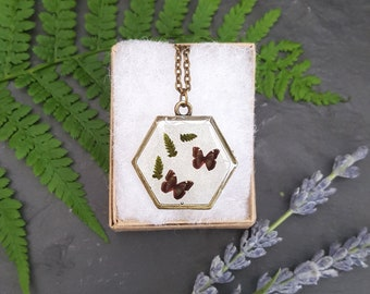 Botanical Butterfly Necklace, Butterfly Jewellery, Flower Jewellery, Real Plant, Botanical Pendant, Pressed Flower Necklace, Resin Jewellery