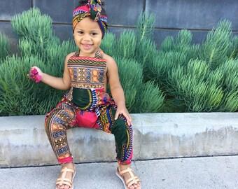 African Ankara Dashiki Print Jumpsuit Romper Outfit - Baby / Toddler / Girls - Hot Pink Dashiki -  0-3m - 5T