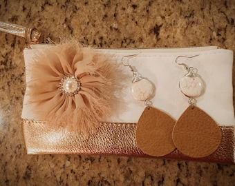 Brown Leather Earrings with pendants