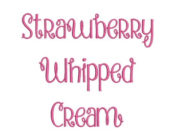SALE 50% 3 Size Strawberry Whipped Cream  Embroidery Font Embroidery Designs, BX fonts Machine Embroidery Designs - 9 File Fomats