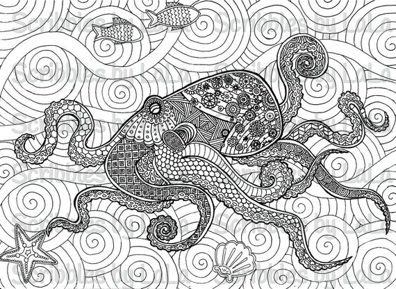 Printable adult coloring page octopus high quality pdf