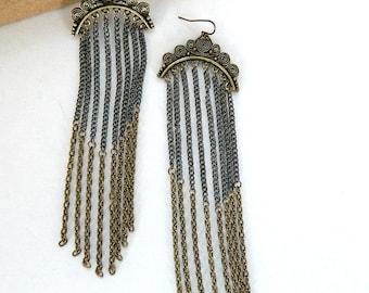 Bronze and Silver Dangle ChainEarrings (handmade jewelry) Grecian Circle pattern Goddess Hook Earrings - fashion Statement earrings