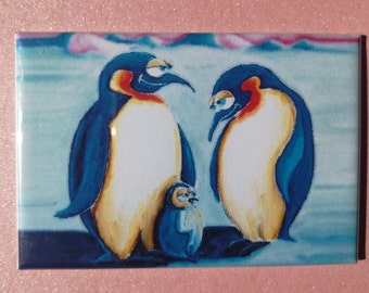 Original Fridge Magnet with a Cute Penguin Family