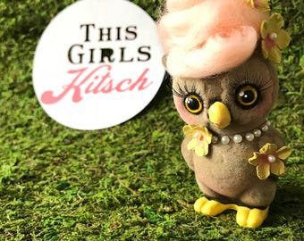 Kitschy. Flocked. Owl Figurine. Reworked Vintage