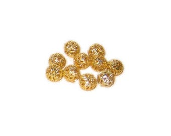 6mm Round Gold Filigree Metal Beads, approx. 45 beads