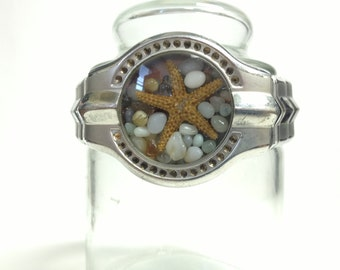 Repurposed Upcycled/Recycled Beach Watch Bracelet W7