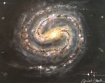 Original Barred Spiral Galaxy Acrylic Painting