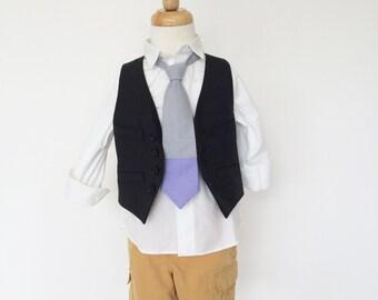 Grey and Lilac Purple Color Block Solid Necktie for Boys