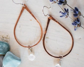Rose Gold filled hoops, with moonstone drop