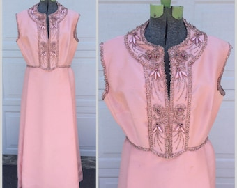 SALE 1960's Vintage Full Length/Maxi Pink Evening Gown