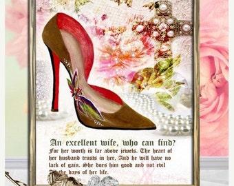A Good Wife, Scripture Art , Proverb 31, Religious Gift, Bible Verse, Christian Wall Art, Collage Art, Bible Art, Digital Collage, women