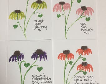 Inspirational coneflower cards