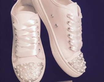 Wedding bridal customised trainers pumps, crystals, pearls & bows, converse style, personailsed, bling