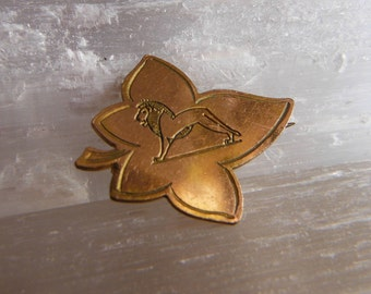 Antique Maple Leaf, Lion Brooch, Egyptian Style,