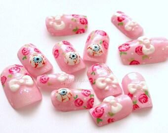 Eyeball, kawaii nail, deco nail, 3D nails, creepy kawaii, goth nail, egl, lolita accessory, Harajuku, alternative girl, creepy cute, bows