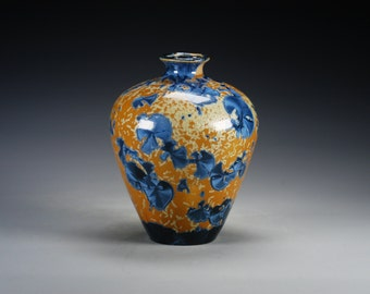 Ceramic Vase - Blue, Orange, Gold - Crystalline Glaze on High-Fired Porcelain - Hand-Made Pottery - SHIPPING INCLUDED  - #B-1-4017