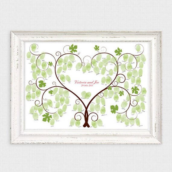 Thumbprint Tree Guest Sign: Grape Vine Fingerprint Wedding Guest Book Printable File