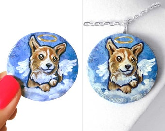 Corgi Necklace, Dog Art, Pet Portrait, Angel Pendant, Hand Painted Wood Jewelry, Animal Painting, Keepsake Gift for Her, Pet Loss