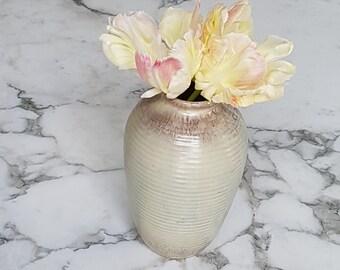 Vintage Majolica Ceramic vase grooved decor/beige brown glazed/Bauhaus Art Deco/German modernist ceramic 40s 50s