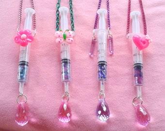 Glitter Syringe Necklaces! - injection menhera medical fashion kawaii shots moon stars bows pills