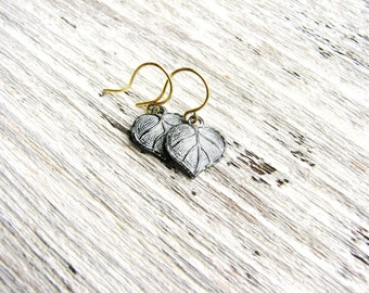 Black and White Earrings Leaf Earrings Tiny Earrings White Patina Leaves Nature Inspired Botanical Bridal Wedding Jewelry Minimalist Jewelry