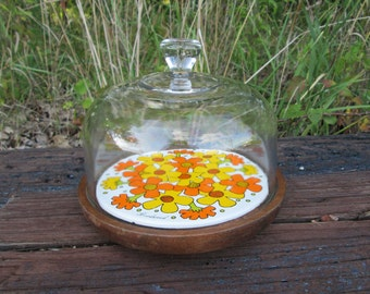 1970's Mod Floral Cheese Serving Tray with Glass Dome Orange and Yellow Tile with Footed Wood Base Goodwood Japan