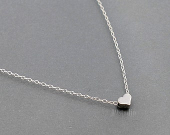 Tiny heart necklace, dainty heart jewelry, simple little small pendant, sterling silver chain, Minimalist, everyday jewelry gift, B9studio
