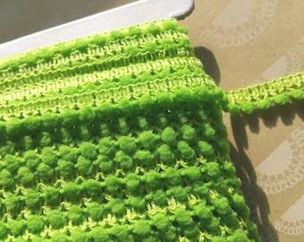 "APPLE GREEN Mini Pom Pom Trim - Sewing Crafting Baby Poms Poms - Mini Fringe - 3/8"" Wide"
