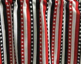 "Patriotic Stars and Stripes Handmade Valance 42"" x 13"""