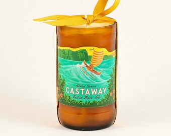 Kona Brewery Castaway India Pale Ale Beer Candle  Big Island Hawaii Beer Bottle Candle Unscented Soy Wax Container Candle Hawaiian Gift
