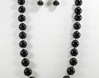 Black Onyx Beaded Necklace Set, Handmade, Women's Accessories, Fashion Jewelry, One of A Kind, Chic Necklace, Chunky Necklace, Gifts for Her
