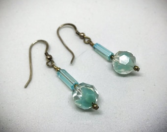 Antique Bronze and Blue Dangle Earrings