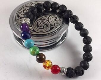 Chakra bracelet + Lava beads for essential oils