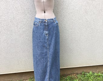 Vintage 90s Blue Denim Maxi Skirt, 90s Women's Clothing, Vintage Jean Skirt, 90s Boho, 90s Grunge, Long Denim Skirt, Size 6