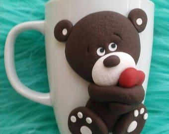 Hand made item, ceramic mug with polymer clay decorations