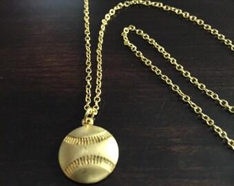 baseball necklace, baseball, gold baseball necklace, baseball pendant, baseball jewelry, baseball necklaces, gold necklace, necklace