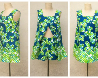 60s playsuit with boy shorts / Pikake, Hawaii / blue lime green floral sleeveless romper / mod summer fashion, womens xs-small