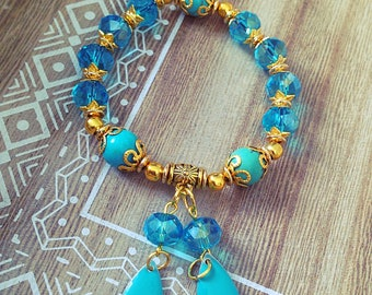 Woman elastic, blue, gold bracelet, gold, turquoise, boho, gift, gift, Crystal, Bohemian, made with love