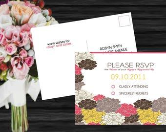 Floral Roses Modern Wedding RSVP Postcard PRINTABLE / DIY