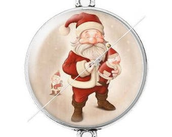 Large silver cabochon connector Merry Christmas happy holidays 22