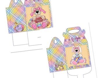 Digital Printable Hoppy Easter Gift Gable Box - Gift Box - Gable Box - Easter - Bunny