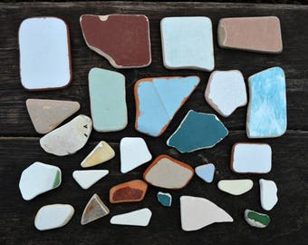 Small to Large Sea Tile Shards Real sea pottery shards of terracotta Beach tile shards Beach Pottery Tile Mosaics Craft Sea tile fragments