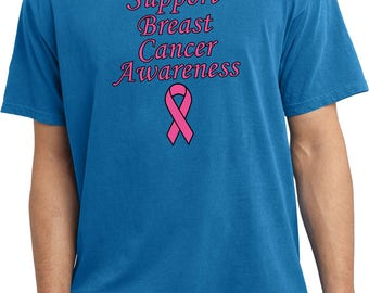 Men's Support Breast Cancer Awareness Pigment Dyed Tee T-Shirt SBCA-PC099